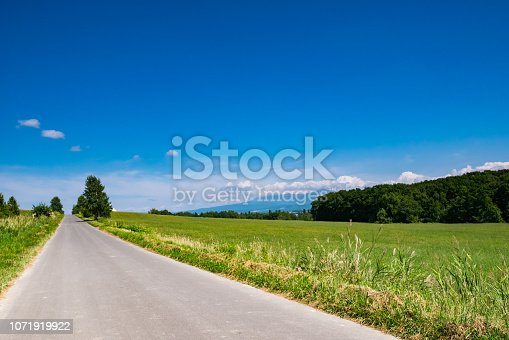 The beautiful landscape of Biei town in Summer. Biei is located between Asahikawa and Furano in Hokkaido, Japan.