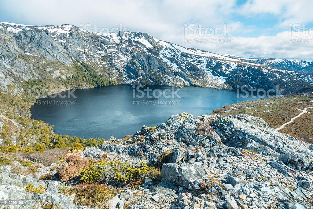 The beautiful landscape of Crater lake, Tasmania. stock photo