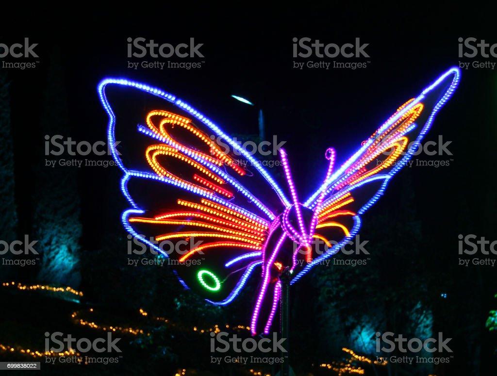 The Beautiful LED lighting decoration show for New year celebrate at Bangkok City Hall  in Bangkok, Thailand. stock photo