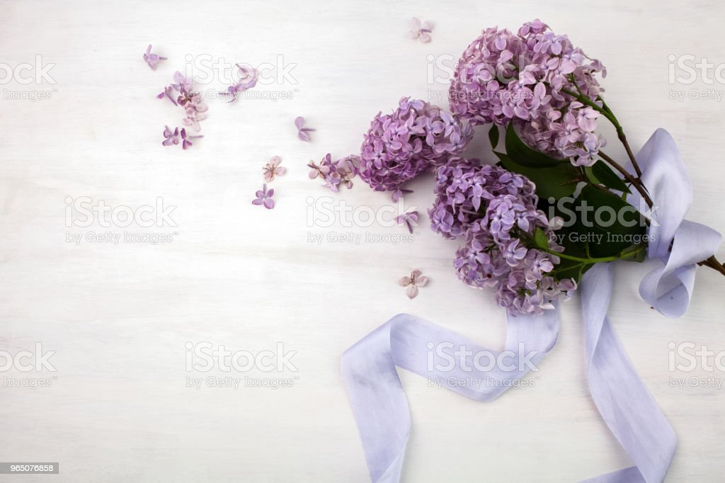 The beautiful lilac on a bright wooden background zbiór zdjęć royalty-free