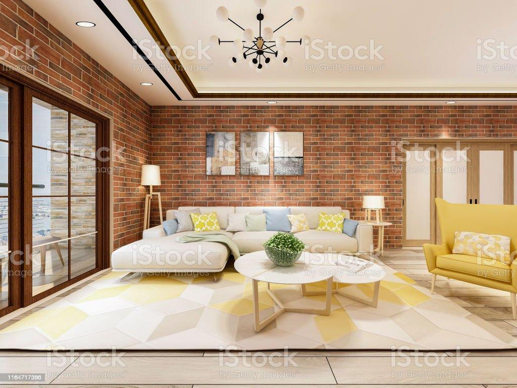 Das Schone Wohnzimmer Design Des Modernen Industriestils Stockfoto