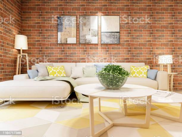 The Beautiful Living Room Design Of Modern Industrial Style Stock Photo Download Image Now Istock