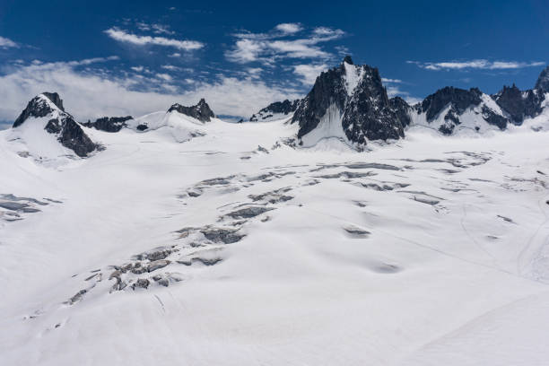 The beautiful majestic scenery of the Mont Blanc massif. French Alps. stock photo