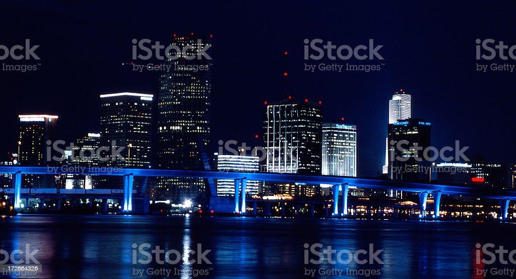 The beautiful Miami skyline at night royalty-free stock photo
