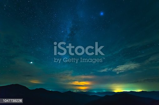 653506436 istock photo The beautiful mountain landscape on the starry sky background 1047735226