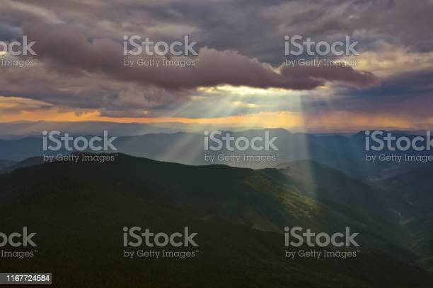 Photo of The beautiful mountain landscape on the sunny background
