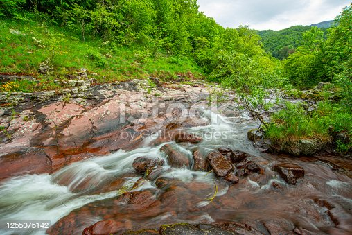The beautiful mountain  river  and the stones of bright red color, surrounded by forests. untouched nature, Serbia