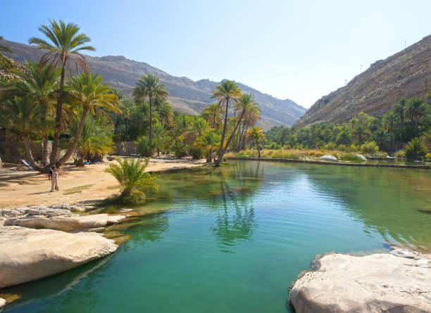 the beautiful mountain scenery. wadi bani khalid. oman. - oman стоковые фото и изображения