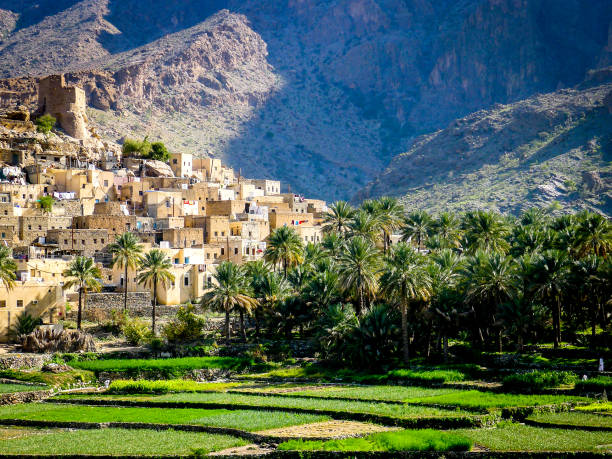 the beautiful mountain village of balad sayt sits in front of green fields in wadi bani awf, oman - oman zdjęcia i obrazy z banku zdjęć
