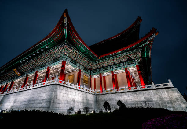 The beautiful National Concert Hall in Liberty Square at night. Taipei, Taiwan stock photo