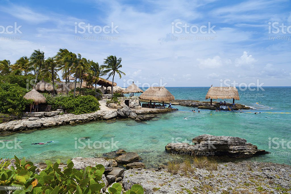 The beautiful oceanfront paradise of the Mayan Riviera stock photo