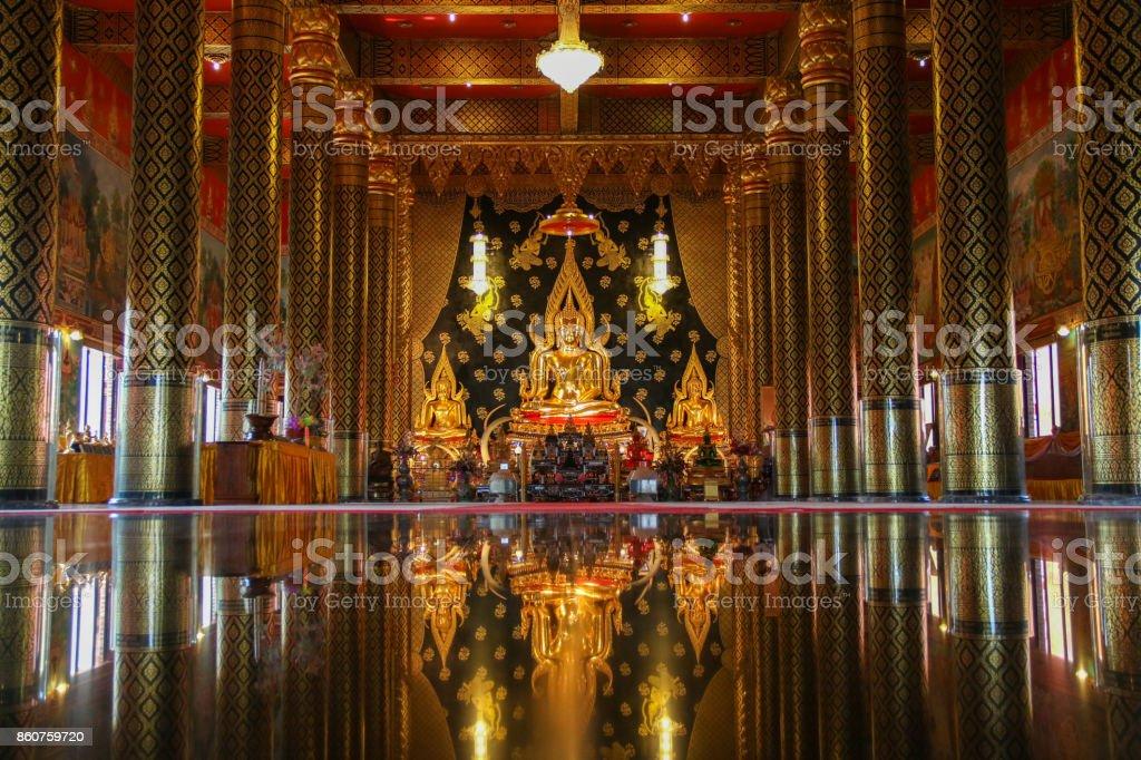 The Beautiful of Buddha statue in the ordination hall at  Wat Nearamit Vipassana temple ,Dansai,Loei province , Thailand. stock photo