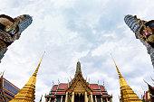 The beautiful of Wat Phra Kaew or Wat Phra Si Rattana Satsadaram, Temple of the Emerald Buddha, Ancient temple in Bangkok, Thailand.