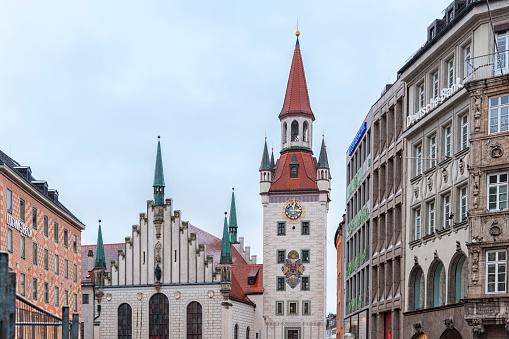 The beautiful Old Town Hall at Marienplatz Square, Munich - Germany