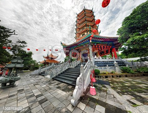 The beautiful oriental architecture of wihara watugong Indonesia