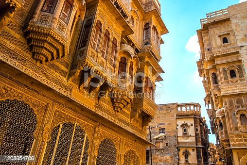 istock The beautiful Patwon ki Haveli palace made of golden limestone in Jaisalmer, Rajasthan, India 1208654706