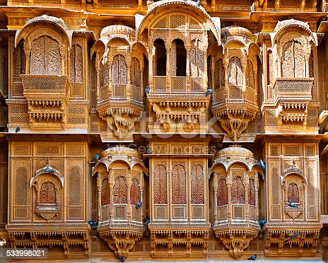 istock The beautiful Patwon ki Haveli palace made of golden limestone 533998021
