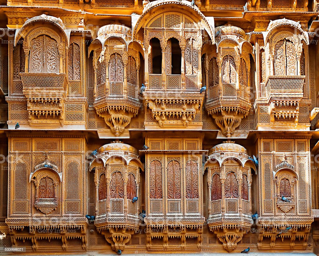 The beautiful Patwon ki Haveli palace made of golden limestone stock photo