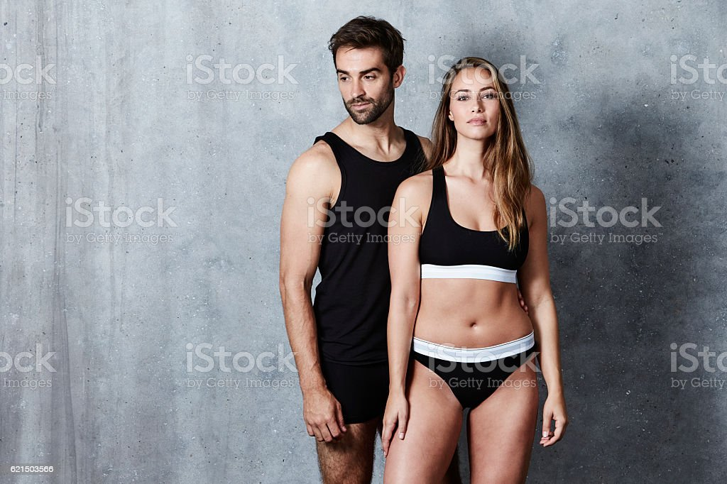 The beautiful people posing in underwear, studio Lizenzfreies stock-foto