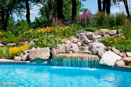 Beautifully landscaped backyard pool with a waterfall.