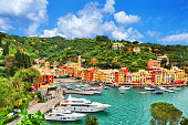 istock The beautiful Portofino with colorful houses, luxury boats and yacht in little bay harbor. A vacation resort with celebrity and artistic visitors. Liguria, Italy ,Europe 1176183979