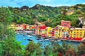 istock The beautiful Portofino with colorfull houses and villas boats and yacht in little bay harbor. Liguria, Italy ,Europe - 986064660