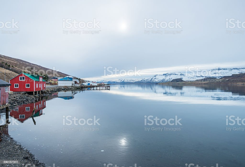 The beautiful reflection of East Iceland. stock photo