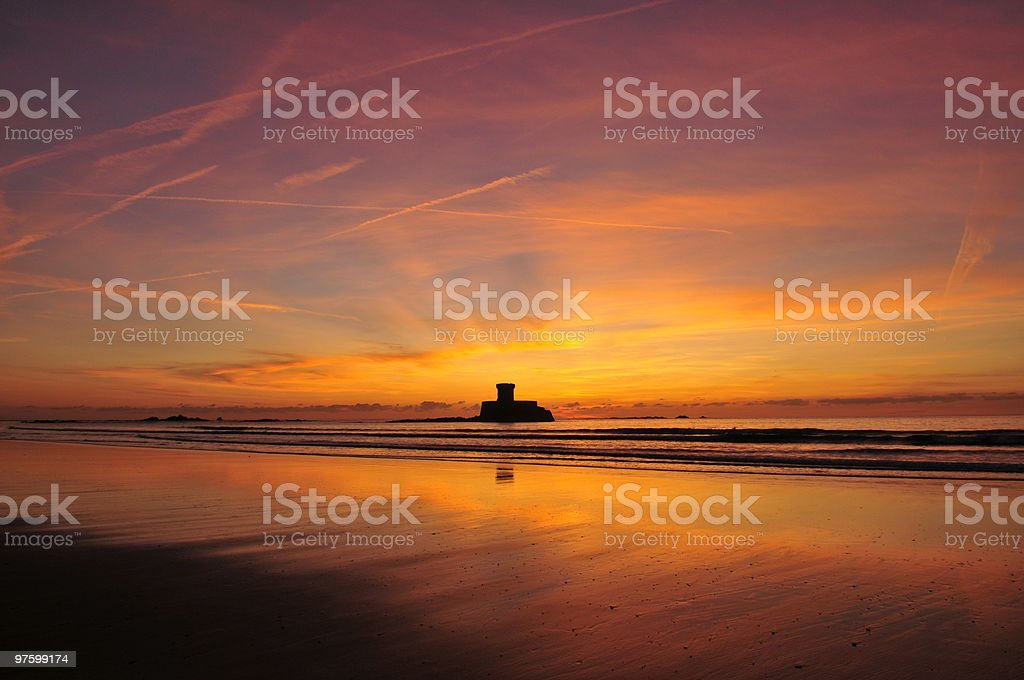 The beautiful Rocca Tower St Ouen Jersey royalty-free stock photo