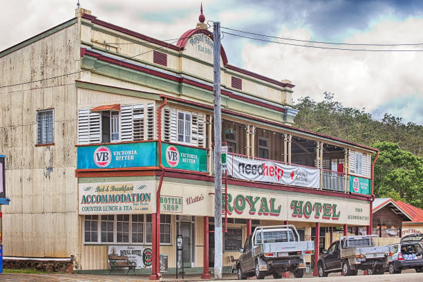 The beautiful Royal Hotel in the historical village of Herberton stock photo