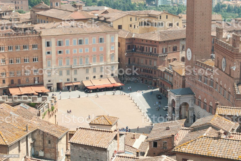 The beautiful Siena,the Piazza del Campo, where the horse race takes place between the districts of the city, called Palio di Siena royalty-free stock photo