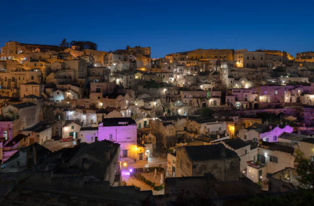 The beautiful stone city of Matera at blue hour stock photo