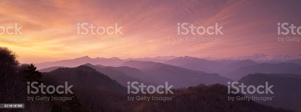 The beautiful sunrise in the Caucasus mountains stock photo