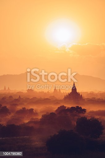 View of Bagan plain with the morning sunrise.
