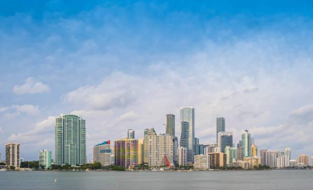The beautiful tourist center skyline in Miami, Florida stock photo