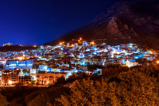 The beautiful town of Chefchaouen in the Rif Mountains, Morocco, at night stock photo