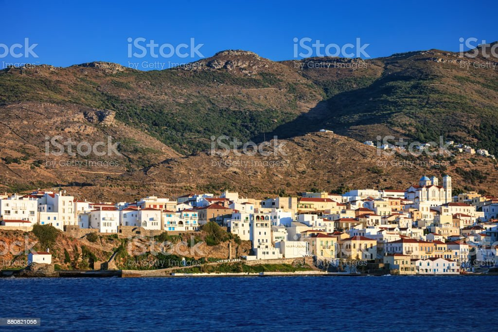 The beautiful town of Chora before sunset, in Andros island, Cyclades, Greece stock photo