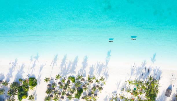 美麗的熱帶島嶼桑吉巴鳥瞰圖。坦尚尼亞桑吉巴海灘的海。圖像檔