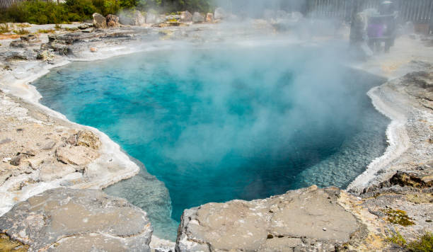The beautiful turquoise hot spring called