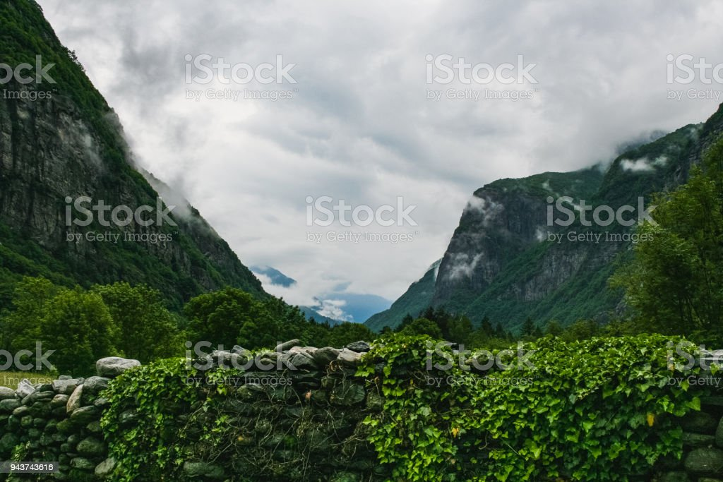 the beautiful valle maggia nature landscape switzerland stock photo