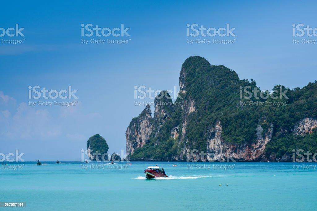 The beautiful view of Loh Dalum Bay in Phi Phi Island - Thailand stock photo