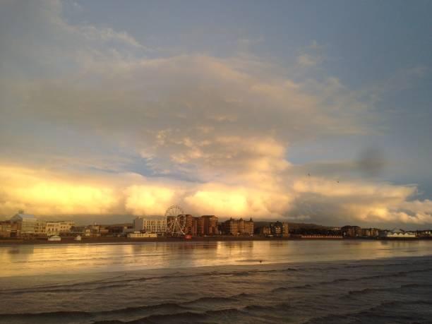 The beautiful Weston-super-Mare coastline. stock photo