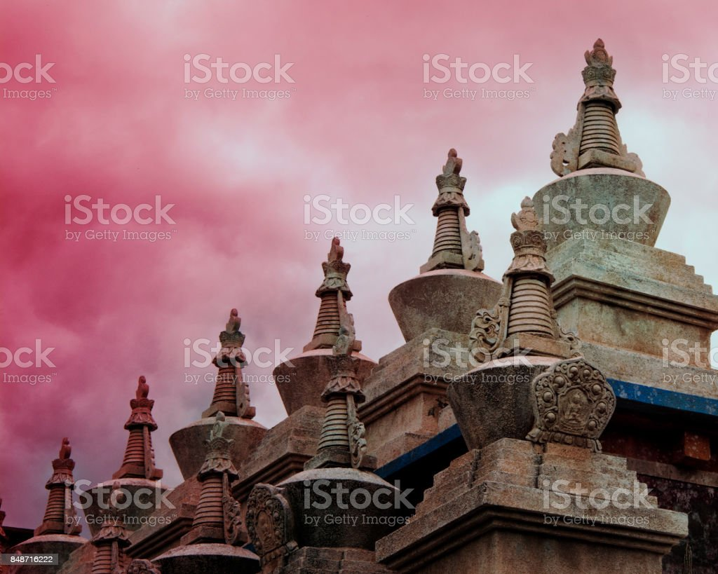 The beautiful white tower of the Tibetan temple in Daocheng, Sichuan, China stock photo