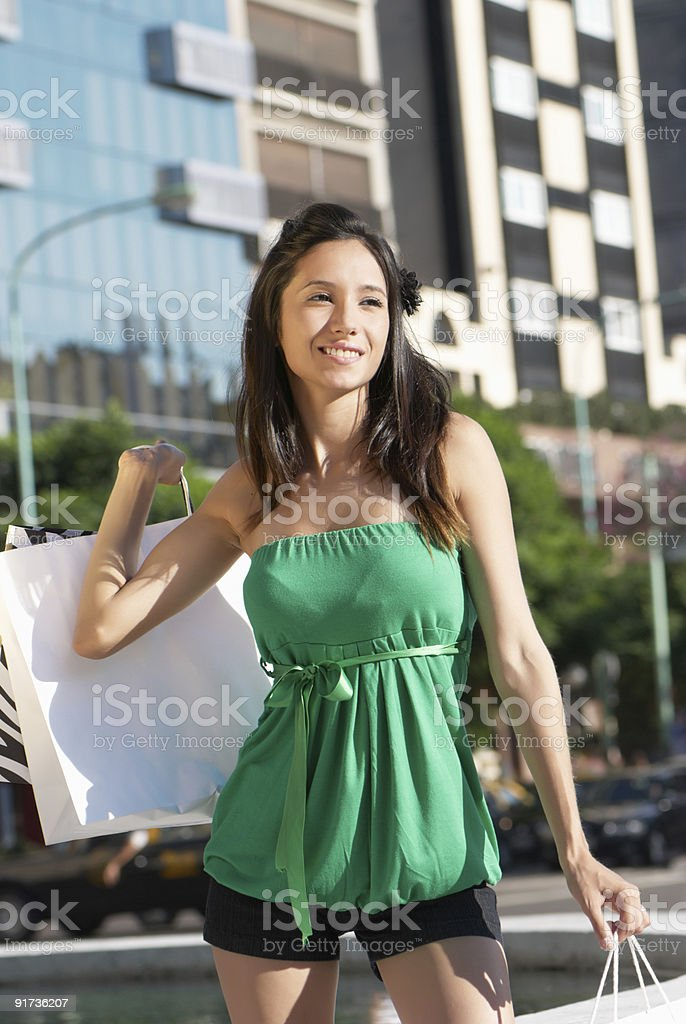 The beautiful young girl with a shopping Bag royalty-free stock photo