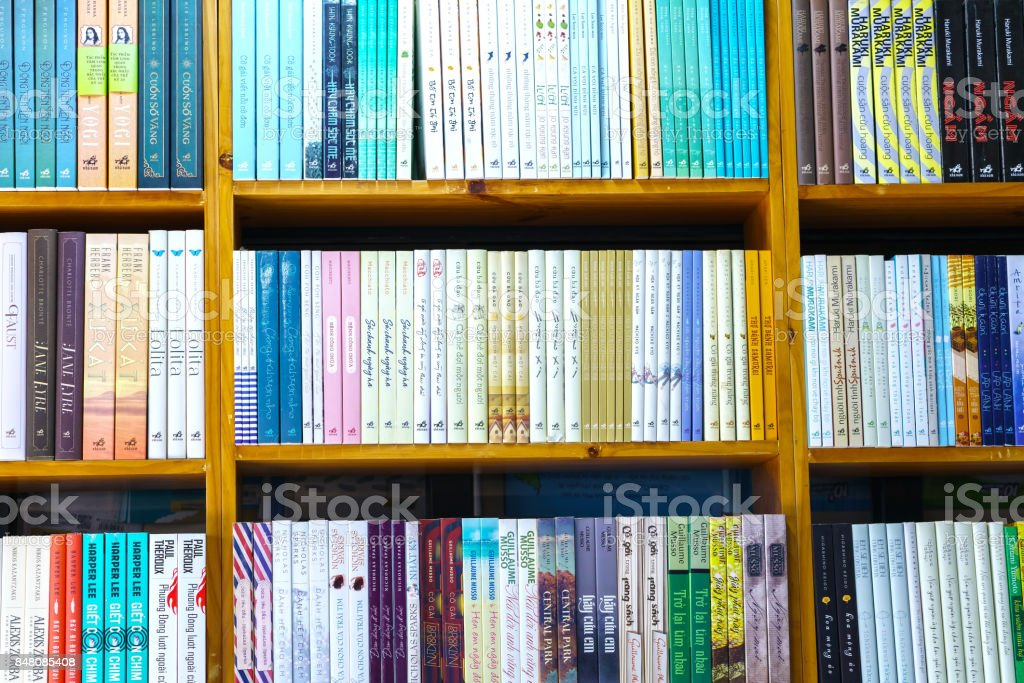 The beautifully decorated books in the book library stock photo