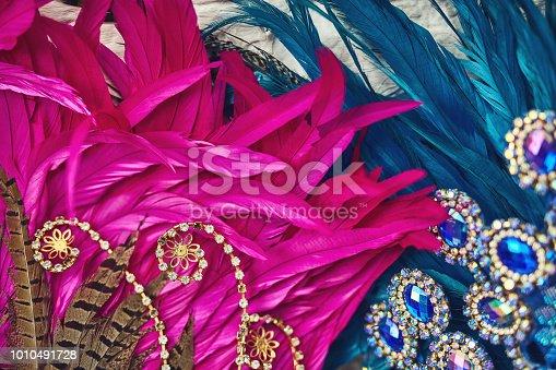 Still life shot of costume headwear for samba dancers