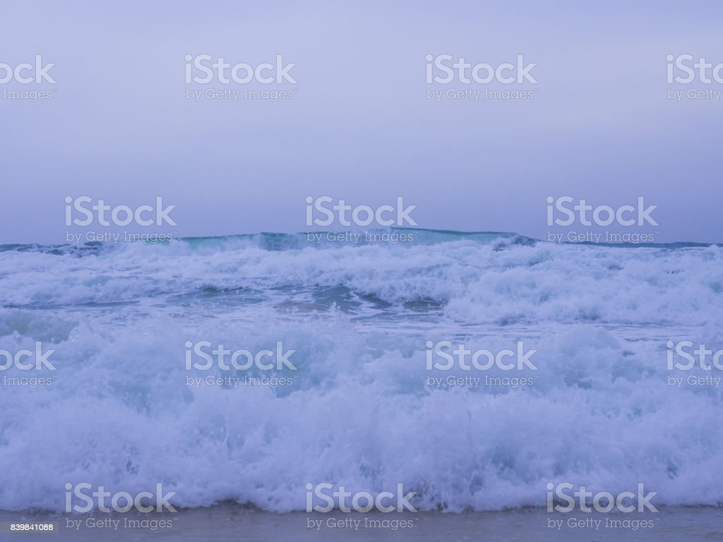 The beauty of simple nature creation, the wave of the sea toward the shore stock photo
