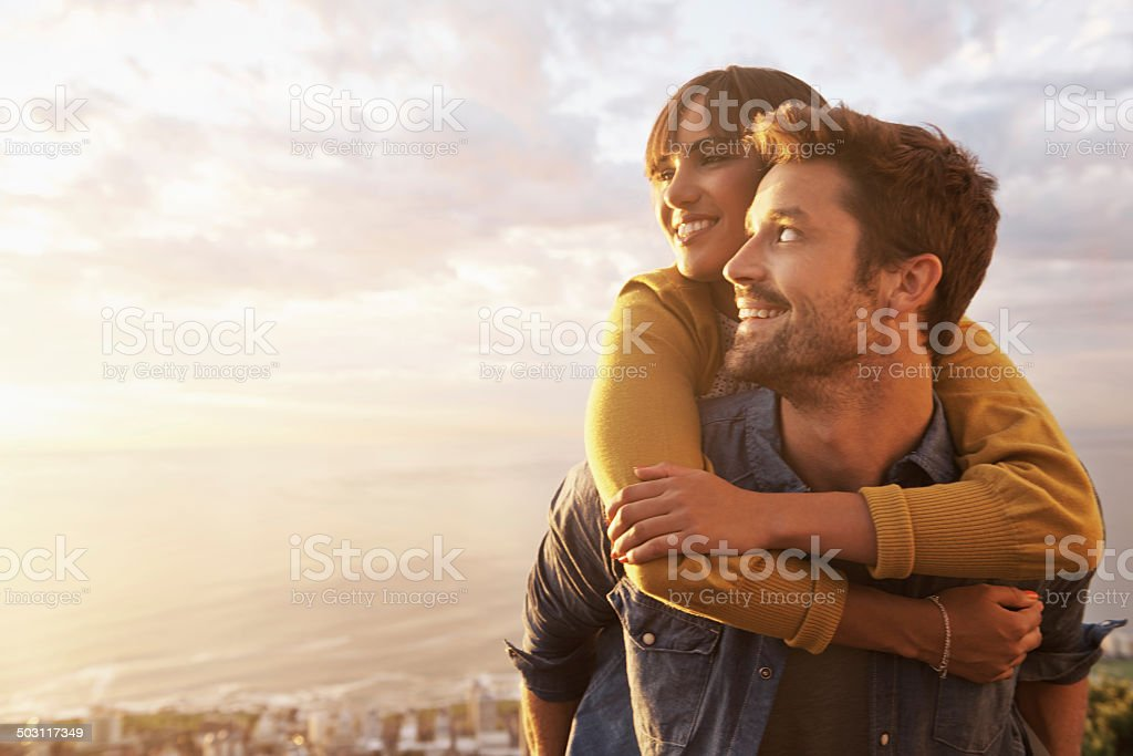 The beauty of sunsets didn't count when she's around stock photo