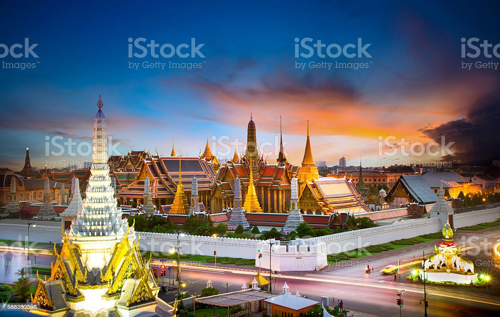 The beauty of the Emerald Buddha Temple at twilight. stock photo