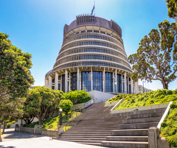 The Beehive - New Zealand's National Parliament building in Wellington New Zealand's national parliament building in the country's capital, Wellington. The building is also known as The Beehive. wellington new zealand stock pictures, royalty-free photos & images