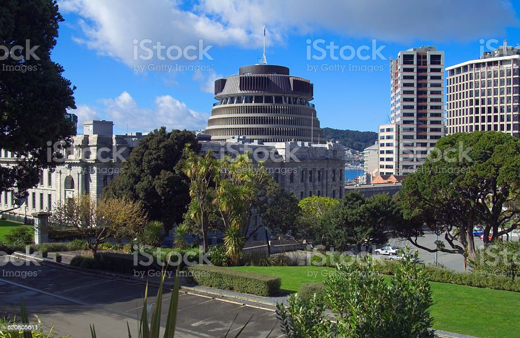 The Beehive, Parliament building, Wellington, New Zealand stock photo